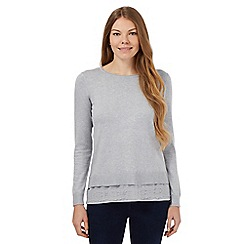RJR.John Rocha - Light grey lace hem jumper
