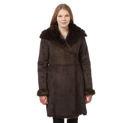 RJR.John Rocha Brown shearling coat