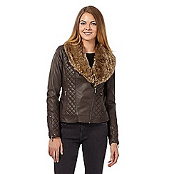 RJR.John Rocha - Chocolate faux fur collar PU biker jacket