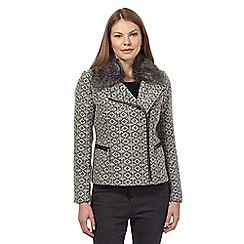 RJR.John Rocha - Grey faux fur tweed jacket