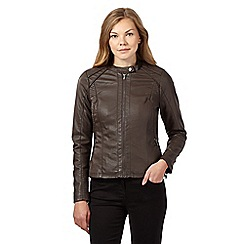 RJR.John Rocha - Dark brown collarless faux leather jacket