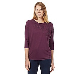 RJR.John Rocha - Dark purple leaf embellished three quarter length sleeve top