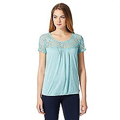 RJR.John Rocha - Designer teal lace yoke bubble hem top