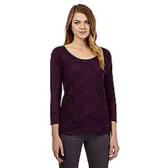 RJR.John Rocha - Purple floral lace detail top
