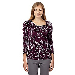 RJR.John Rocha - Dark purple leaf print top