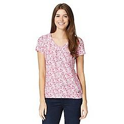 RJR.John Rocha - Designer white organic cotton floral print t-shirt