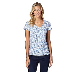 RJR.John Rocha - Designer blue floral organic cotton top