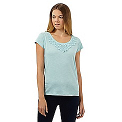 RJR.John Rocha - Designer light turquoise crochet neck t-shirt