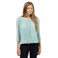 RJR.John Rocha - Designer light turquoise crinkled chiffon and lace top