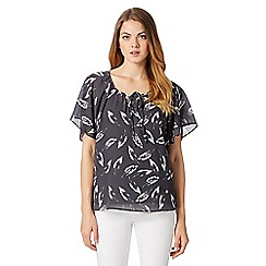 RJR.John Rocha - Designer dark grey feather print top