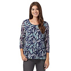 RJR.John Rocha - Navy feather print peplum top