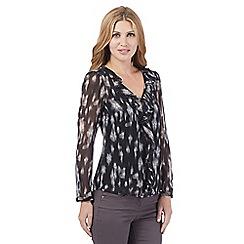 RJR.John Rocha - Navy frill front print blouse