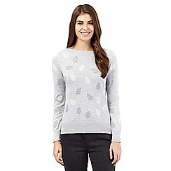 RJR.John Rocha - Grey leaf embroidered jumper