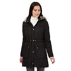 RJR.John Rocha - Black fur trim parka coat