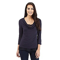 RJR.John Rocha - Navy cowl neck top