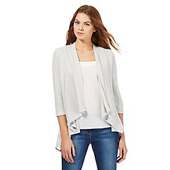 RJR.John Rocha - Light grey glittery layered waterfall cardigan
