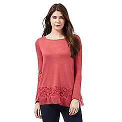 RJR.John Rocha - Dark Rose lace insert knitted top