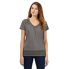 RJR.John Rocha - Khaki organic cotton embroidered top