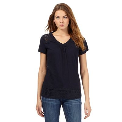 RJR.John Rocha Navy organic cotton embroidered top