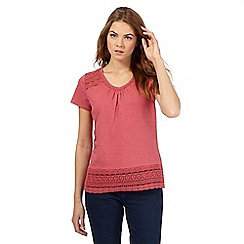 RJR.John Rocha - Dark pink organic cotton embroidered top