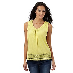 RJR.John Rocha - Yellow lace-effect cotton vest