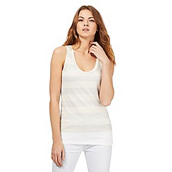 RJR.John Rocha - Cream sleeveless glitter striped layered vest top