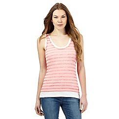 RJR.John Rocha - Coral burnout striped layered vest top