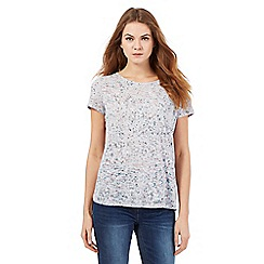 RJR.John Rocha - Light grey burnout floral print top