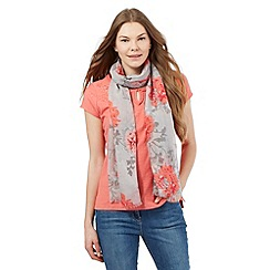 RJR.John Rocha - Coral floral embroidered top and scarf