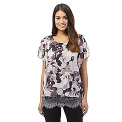 RJR.John Rocha - Purple capped sleeve floral blouse