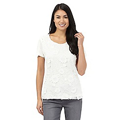 RJR.John Rocha - Ivory sequinned lace front top