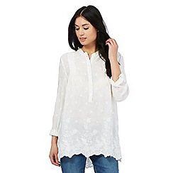 RJR.John Rocha - Ivory floral embroidered shirt