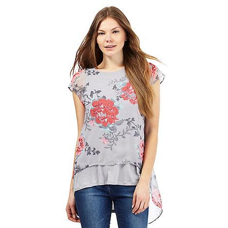 Light grey floral print top