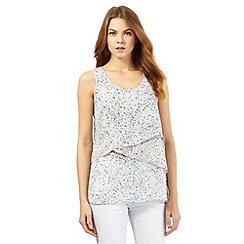 RJR.John Rocha - Grey floral print sequin embellished layered top