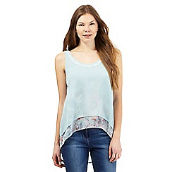 RJR.John Rocha - Pale green leaf print layered dipped hem top
