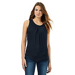 RJR.John Rocha - Navy knot embroidered pleated top