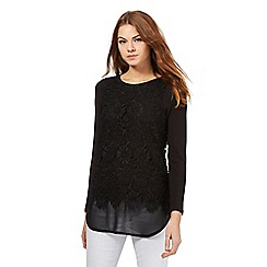 RJR.John Rocha - Black lace over lay chiffon hem top