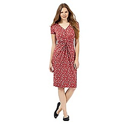 RJR.John Rocha - Dark pink spotted jersey gather dress
