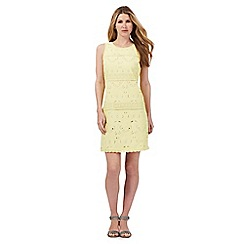 RJR.John Rocha - Yellow Broderie Anglaise pencil dress