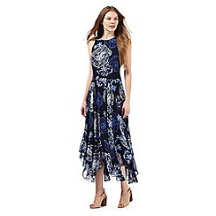 RJR.John Rocha - Navy floral print dipped hem maxi dress
