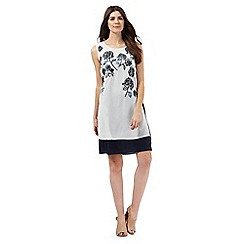 RJR.John Rocha - White and navy floral embroidered dress