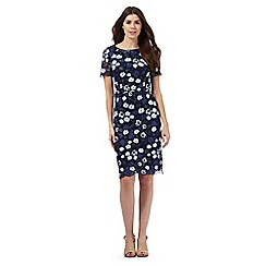 RJR.John Rocha - Navy mesh embroidered floral dress