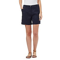 RJR.John Rocha - Navy lace panel linen blend shorts