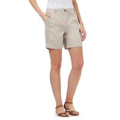 RJR.John Rocha Beige lace panel linen blend shorts
