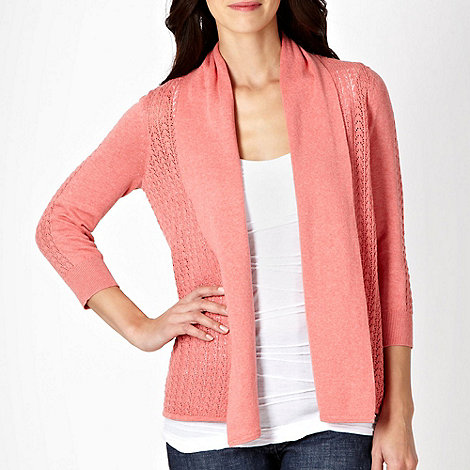RJR.John Rocha - Mid rose pointelle edge to edge cardigan