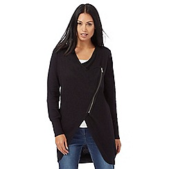 RJR.John Rocha - Black long line asymmetric zip cardigan