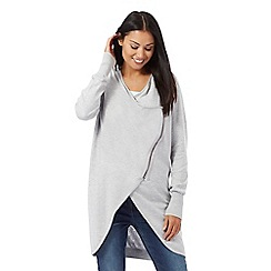 RJR.John Rocha - Grey long line asymmetric zip cardigan