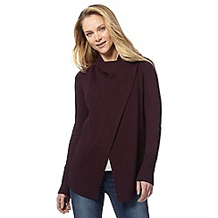 RJR.John Rocha - Dark purple ribbed wrap over cardigan