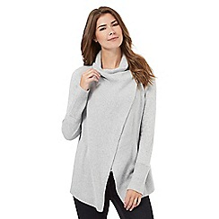 RJR.John Rocha - Grey ribbed wrap over cardigan
