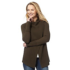 RJR.John Rocha - Khaki ribbed wrap over cardigan
